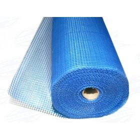 Стеклотканевая фасадная сетка, размер ячейки 5х5мм, 100см х 50м усиленная (синяя)